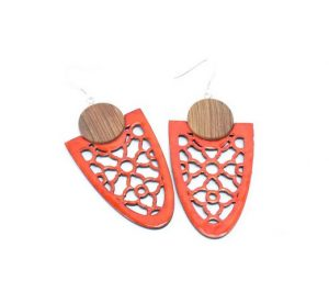 contemporary earrings wood and polymer clay