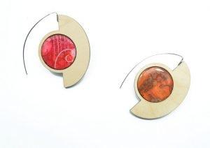 wood and polymer clay earrings wearable art Olga Nicolas