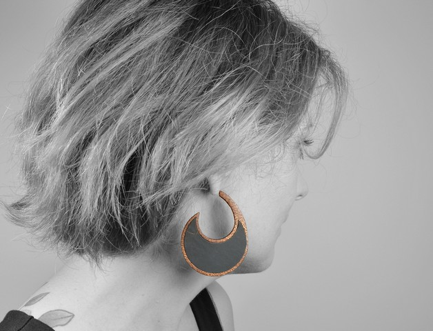 wood and polymer clay earrings wearable art Olga Nicolas