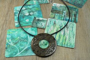 abstract painting on polymer clay and polymer clay molding